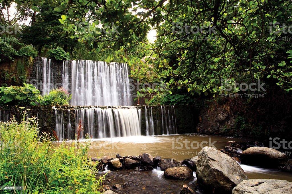 man made waterfall stock photo