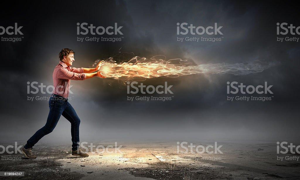 Man magician stock photo