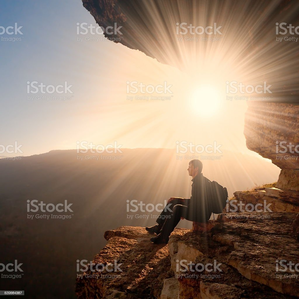 man  mainsails and caves stock photo