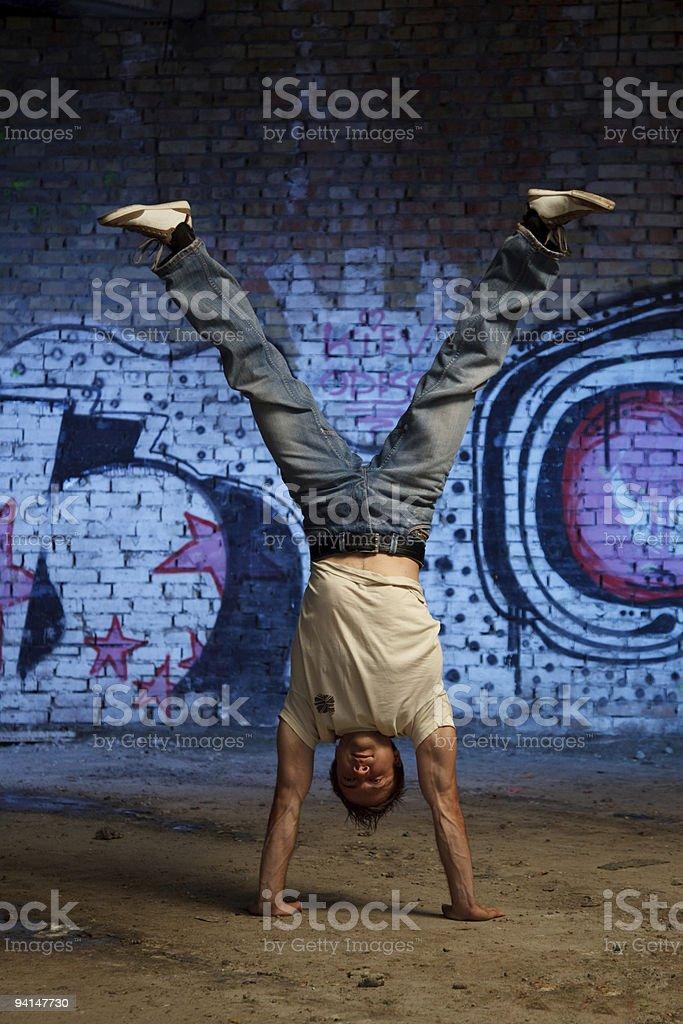 Man make handstand royalty-free stock photo