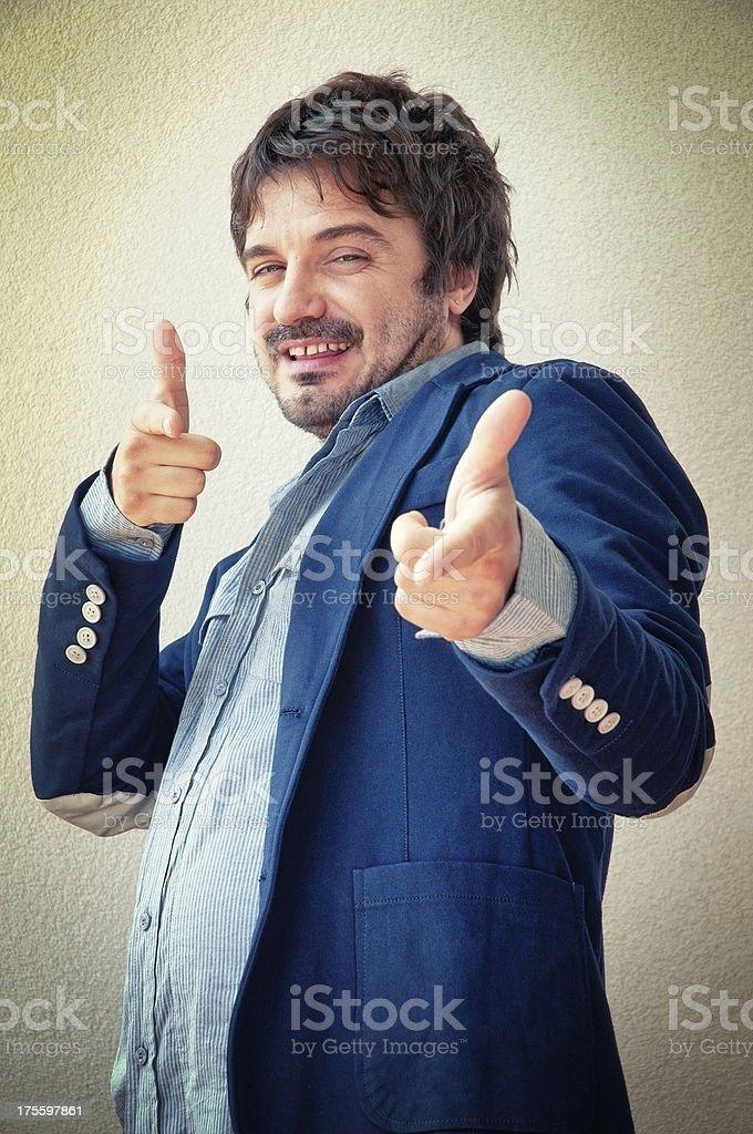 Man Makes Fingers Gun Gesture stock photo