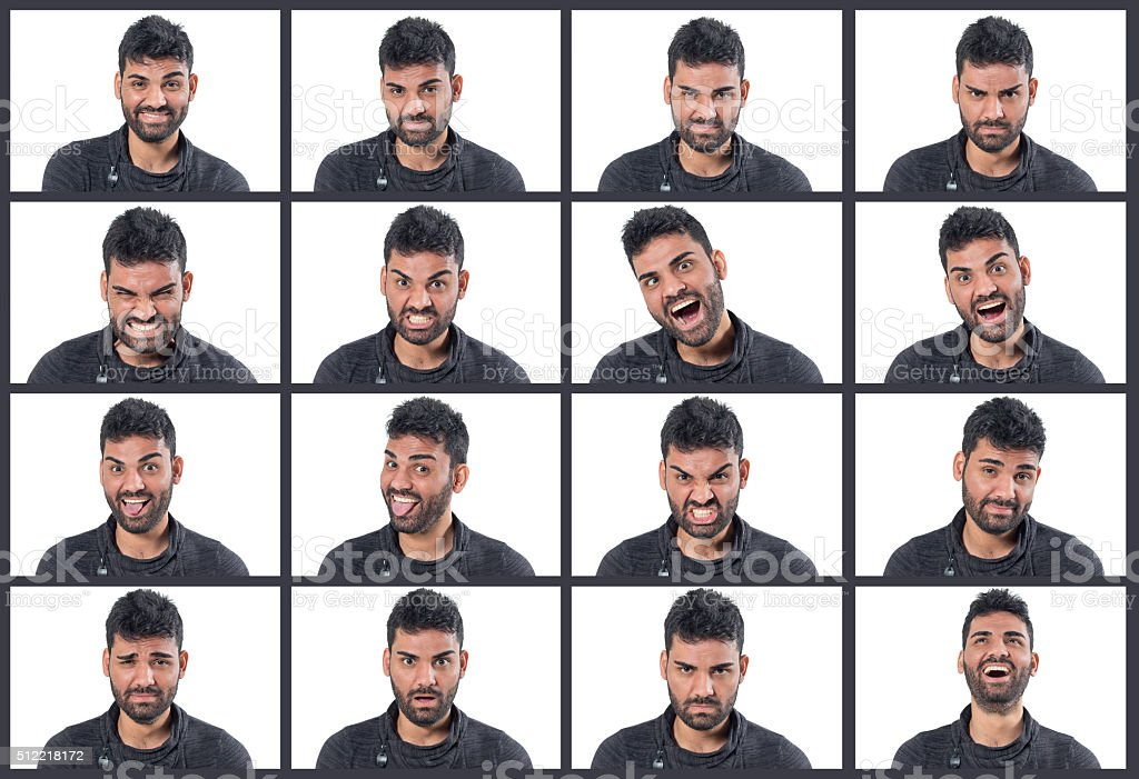 Man making 16 facial expressions stock photo
