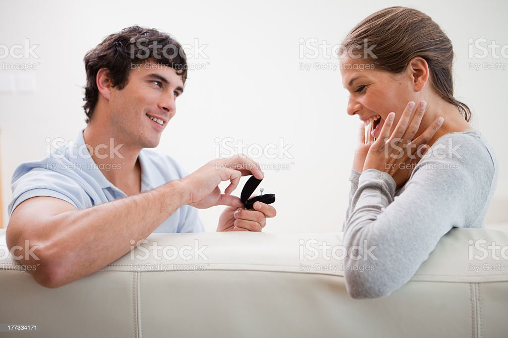 Man making a proposal of marriage stock photo