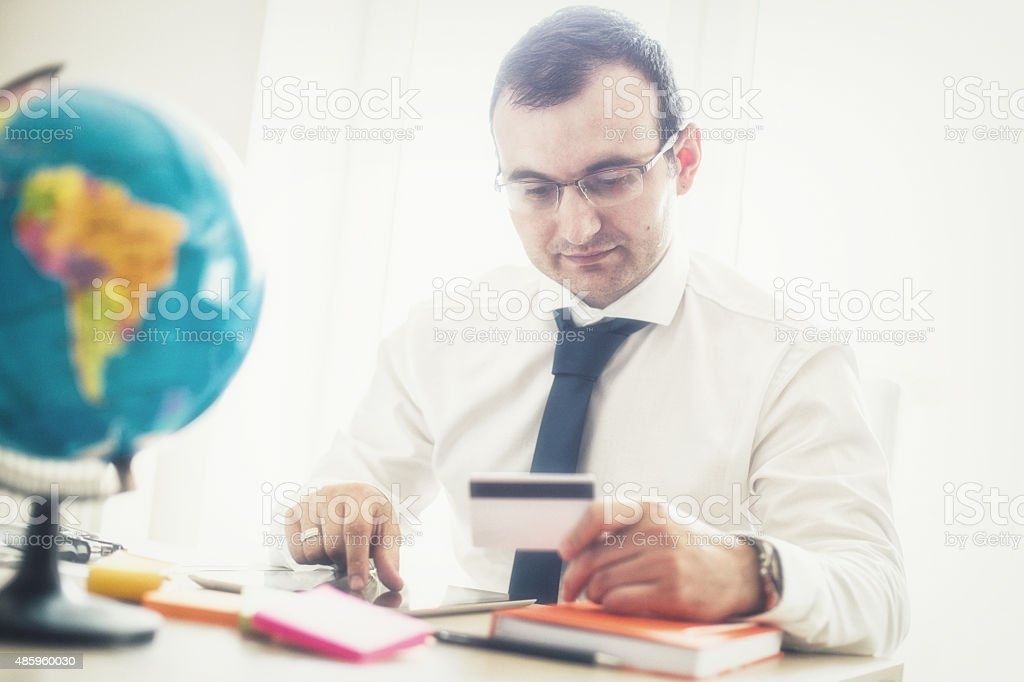 Man making credit card payment stock photo