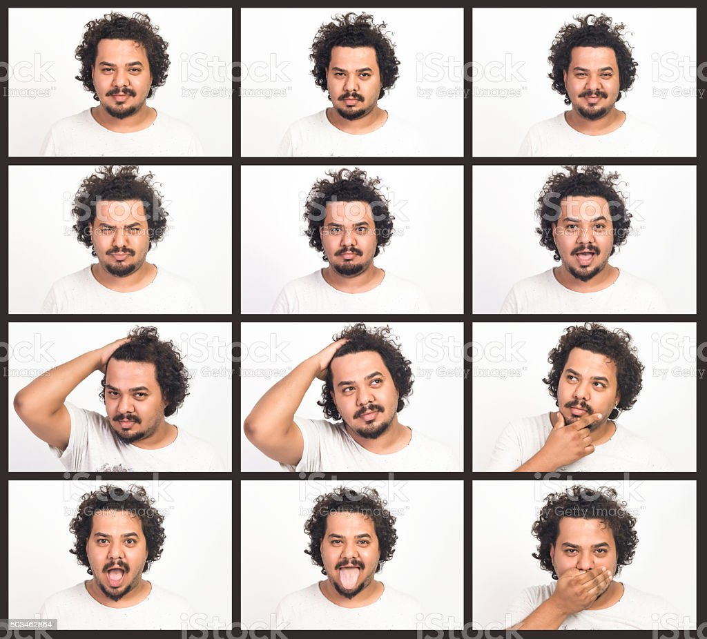 Man making facial expressions stock photo