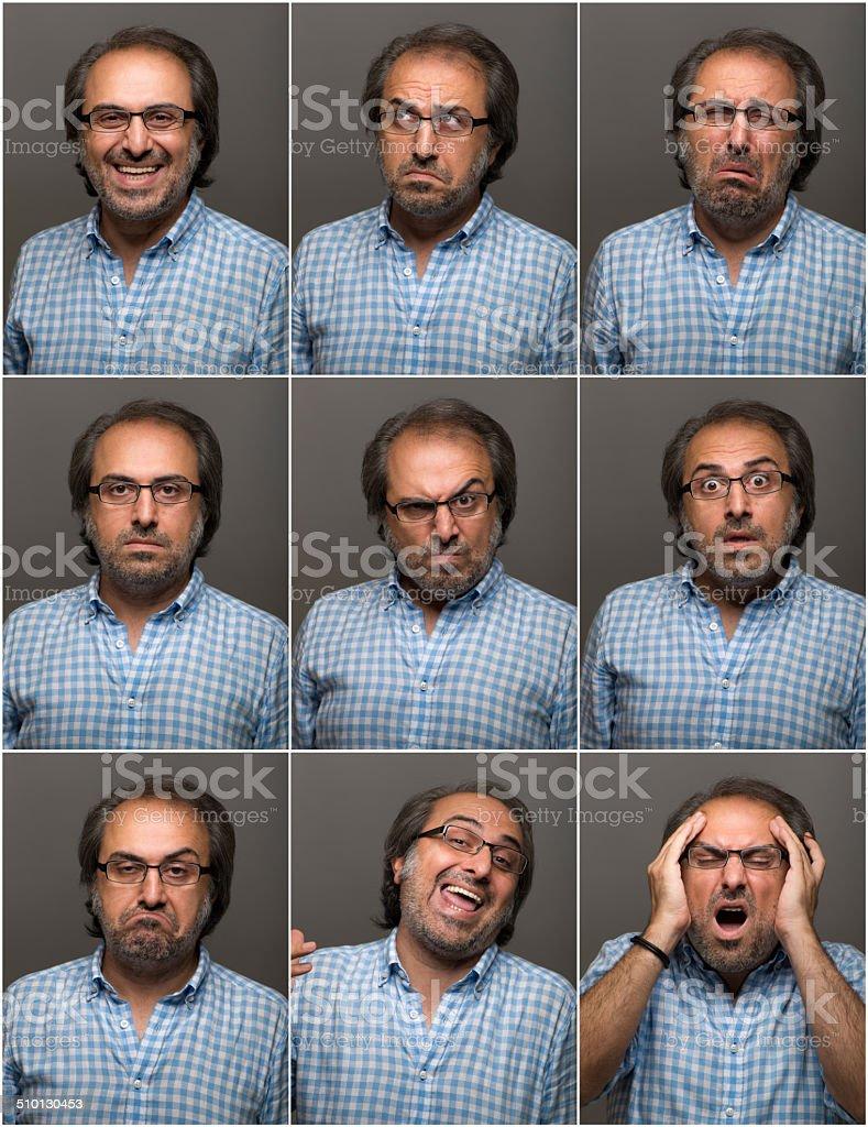 Man making facial expressions stock photo