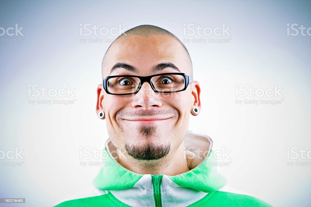 Man making funny face stock photo