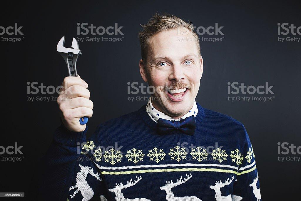 Man making happy expression royalty-free stock photo
