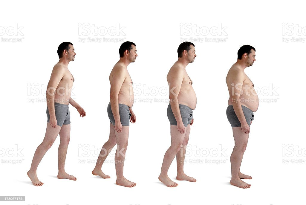 man making incremental weight gain stock photo