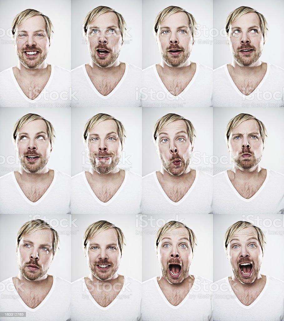 Man making many expressions royalty-free stock photo