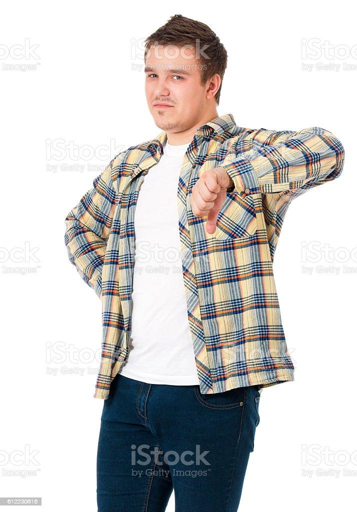 Man making the thumb down sign stock photo
