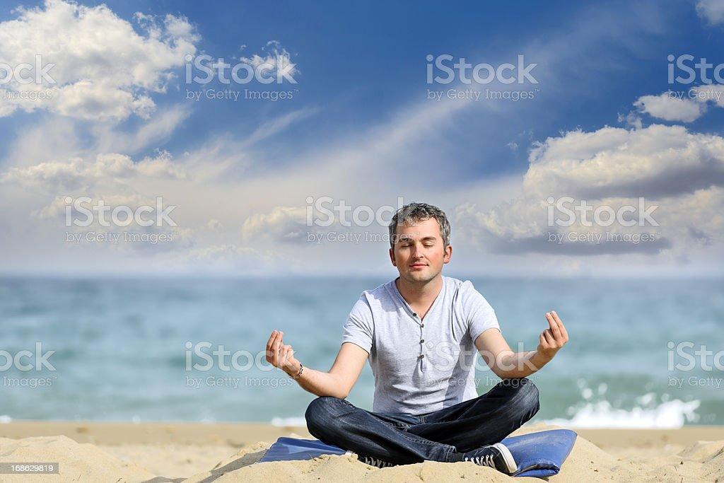 man making yoga royalty-free stock photo