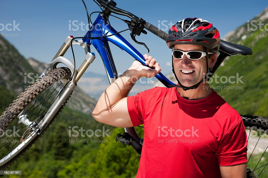 Man Mountain Biking Portrait royalty-free stock photo