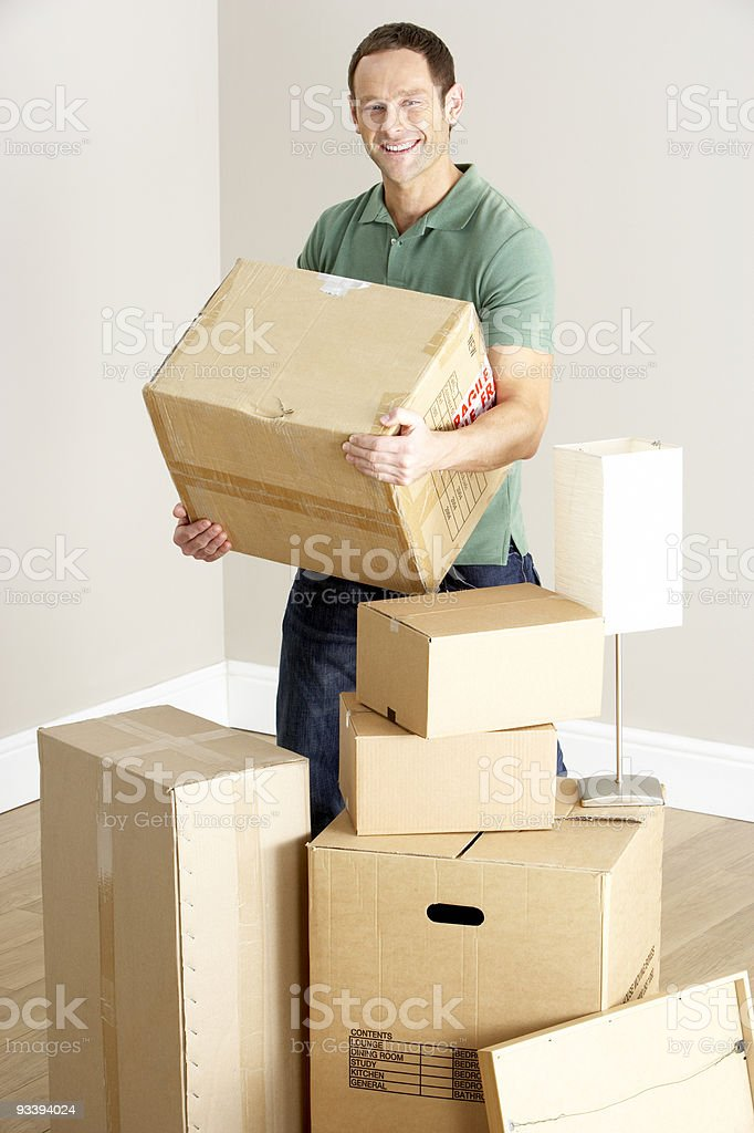 Man Moving Into New Home royalty-free stock photo