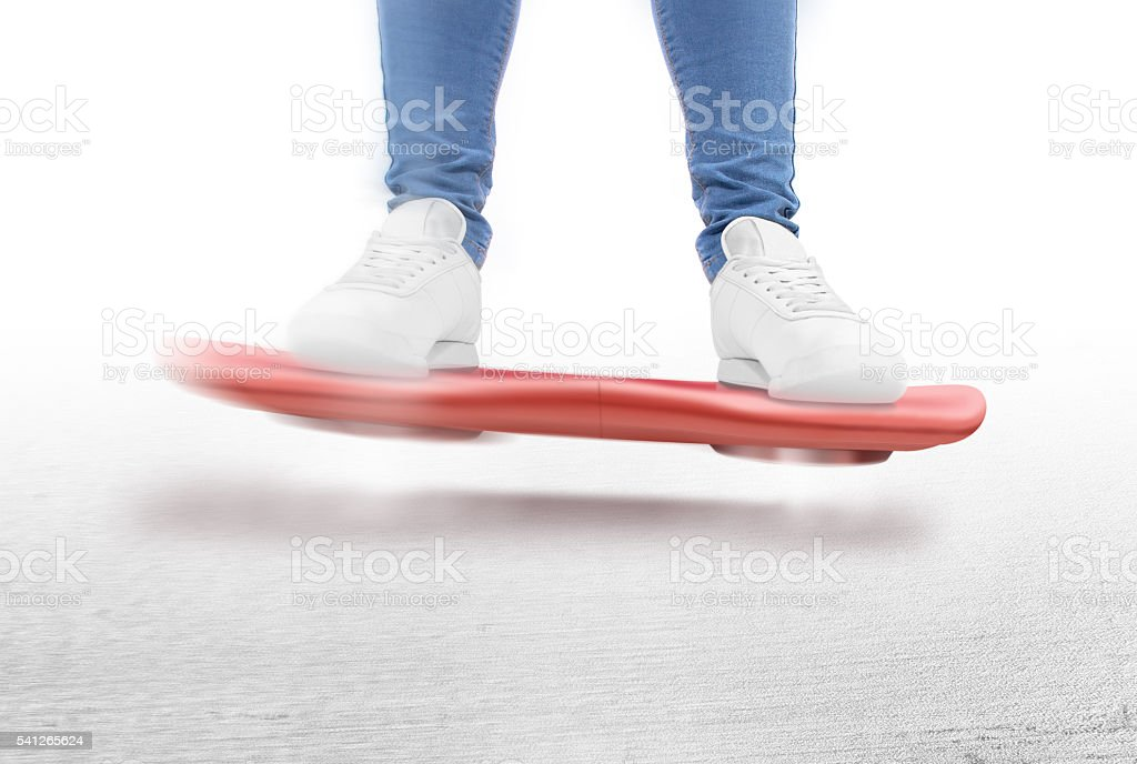 Man moving on red hover board scooter isolated. stock photo