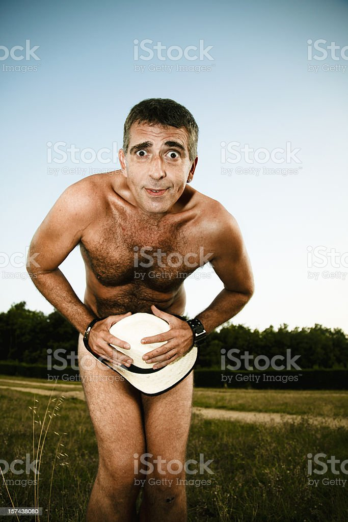 Man naked in a embarrasing situation royalty-free stock photo