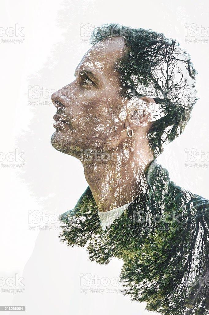 man nature portrait stock photo
