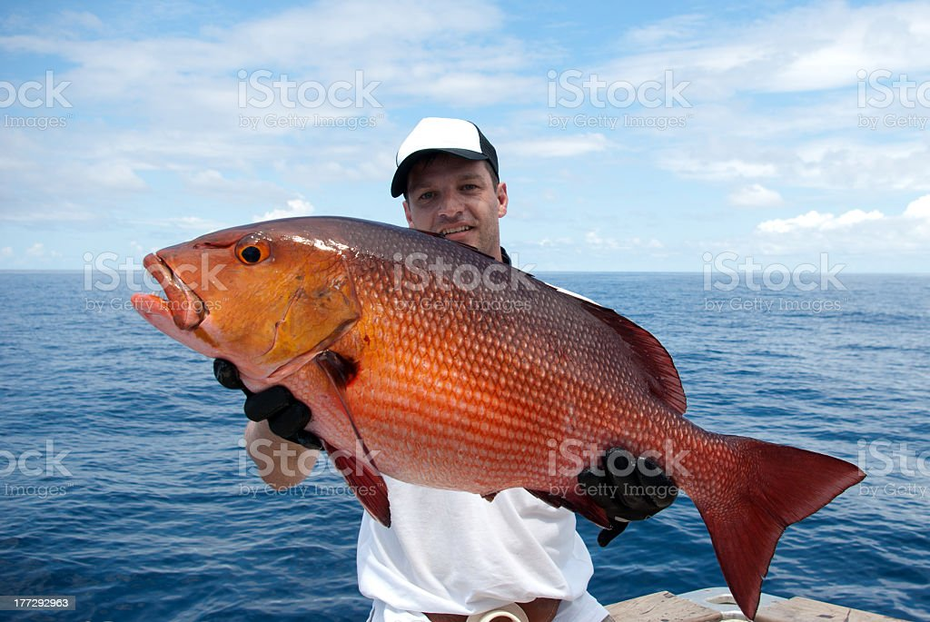 Man near the lake holding a large red snapper stock photo