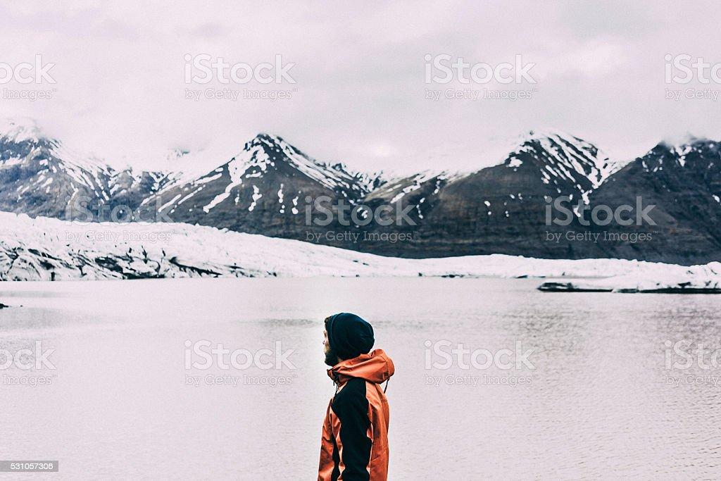 Man near the lake stock photo