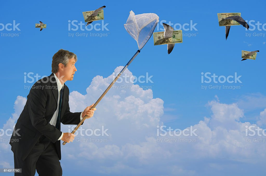 Man netting flying money financial success stock photo