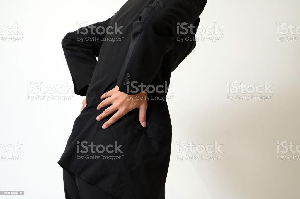 man of low back pain stock photo