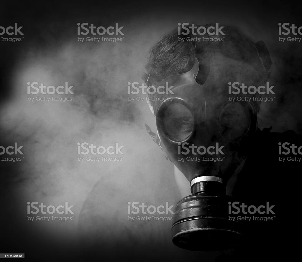 Man of Nightmares wearing creepy gas mask royalty-free stock photo