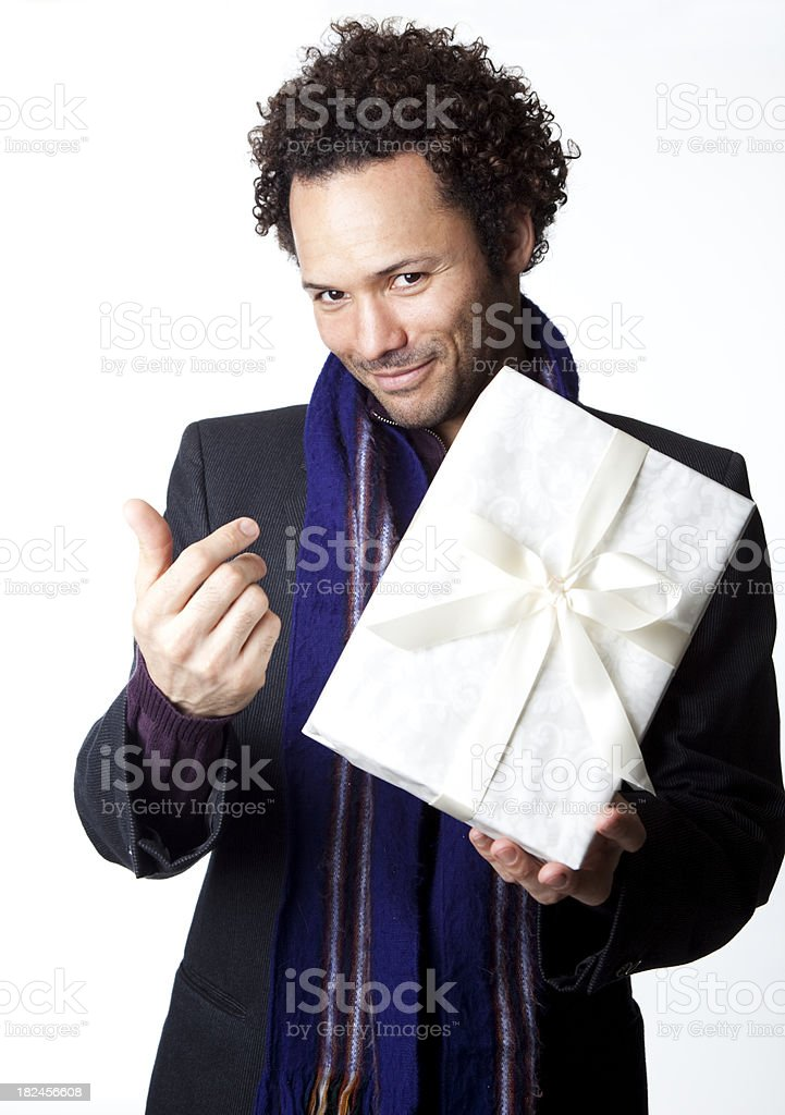 man offering gift stock photo