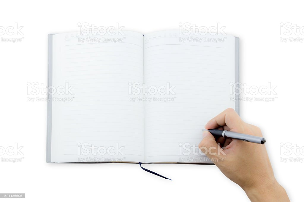 man office worker hand writing book(note, diary) spread top view stock photo