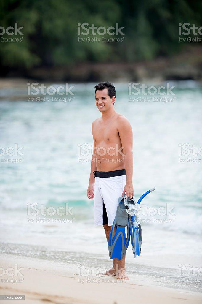 Man on a Beach stock photo
