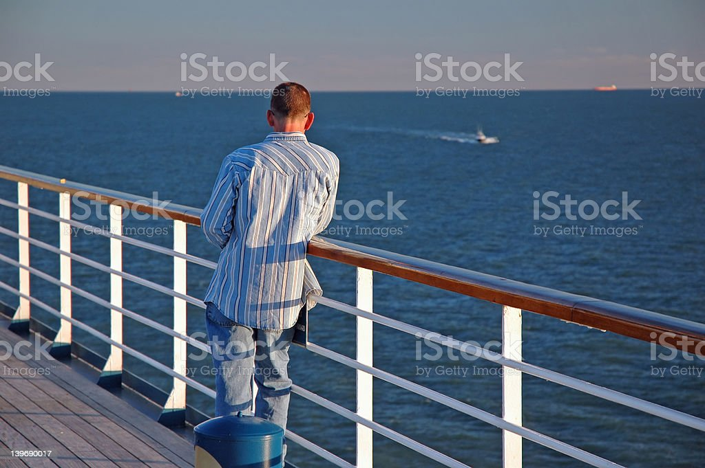 Man on a Cruise Ship royalty-free stock photo