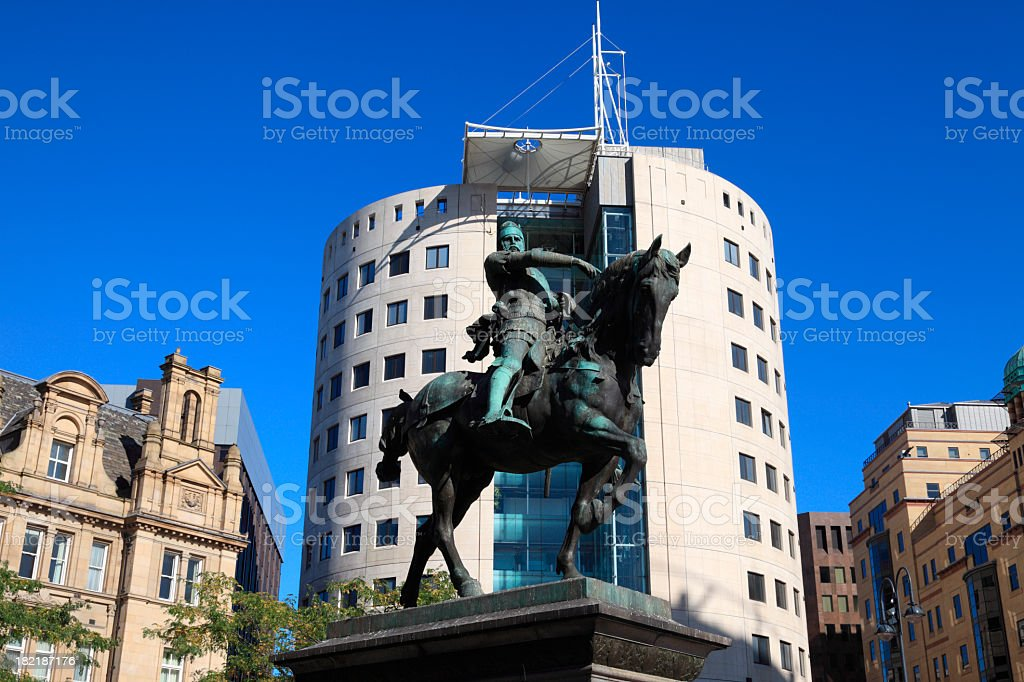 Man on a horse statue in Leeds City Square stock photo