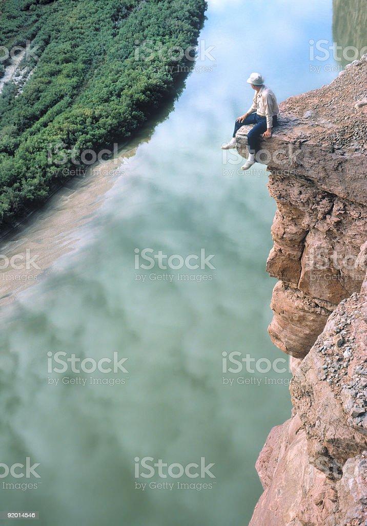 Man on a Ledge stock photo