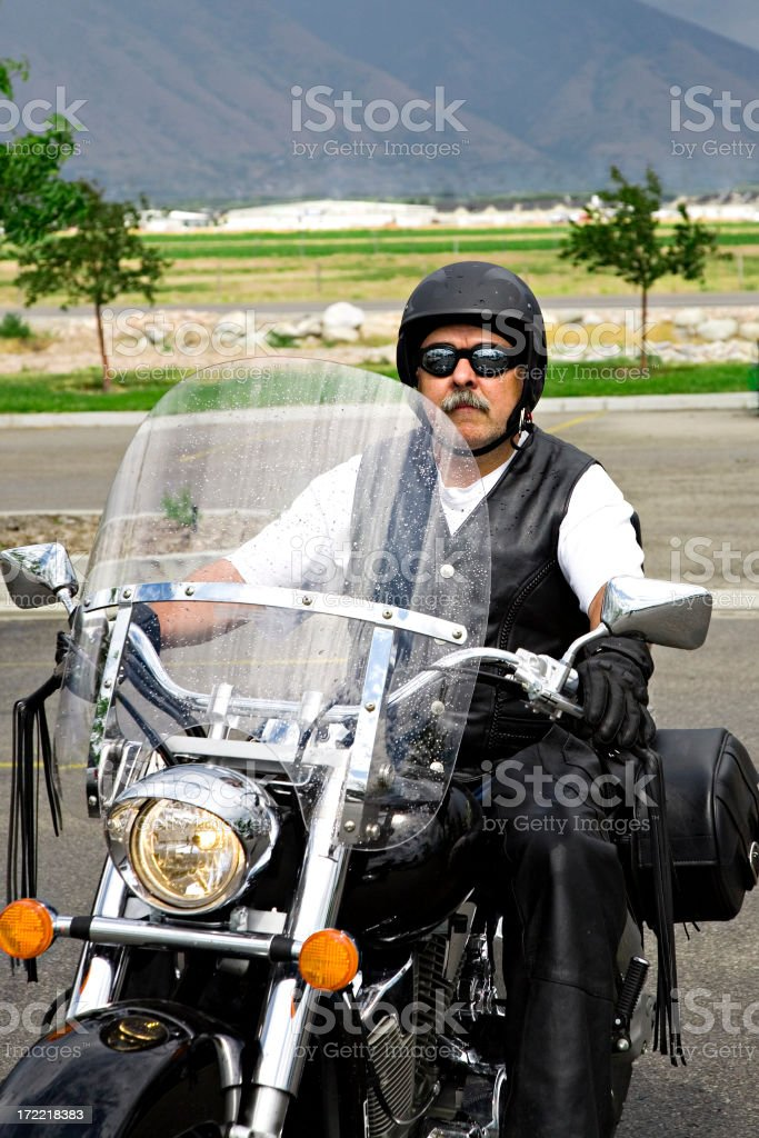 Man on a Motorcycle. royalty-free stock photo