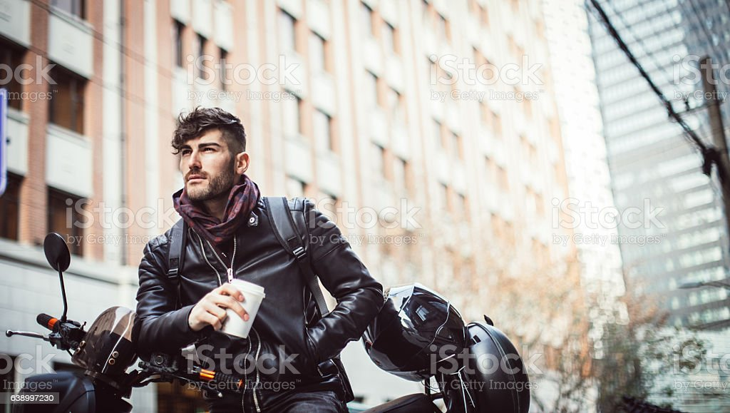 Man on a motorcycle stock photo