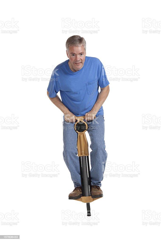 Man on a Pogo Stick stock photo