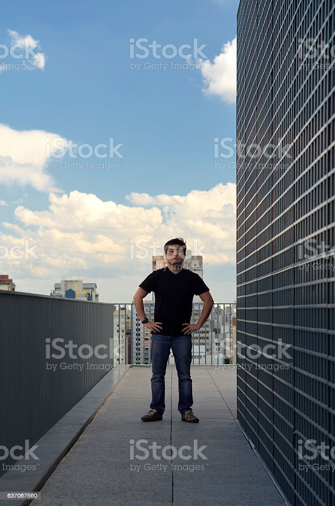 Man on a Terrace stock photo