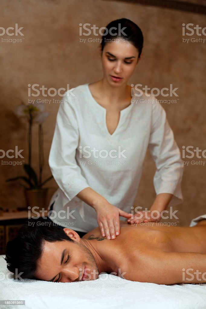 Man on back massage royalty-free stock photo