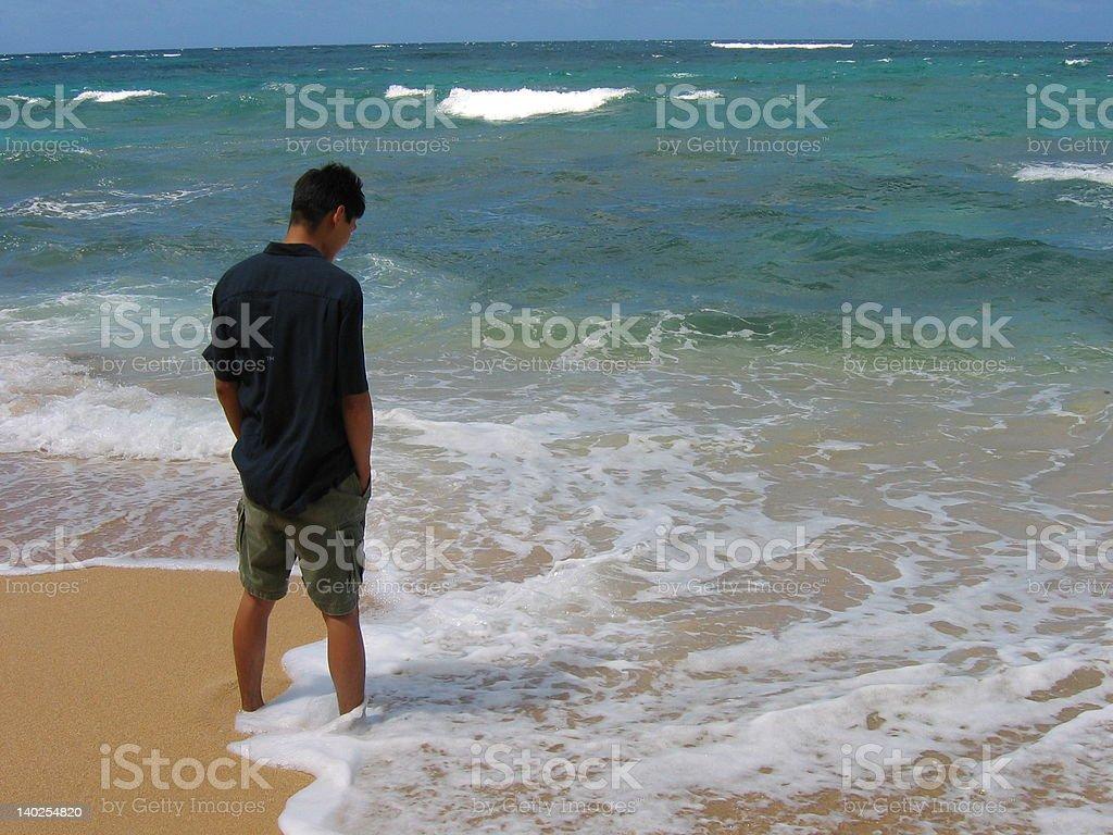 Man on Beach royalty-free stock photo