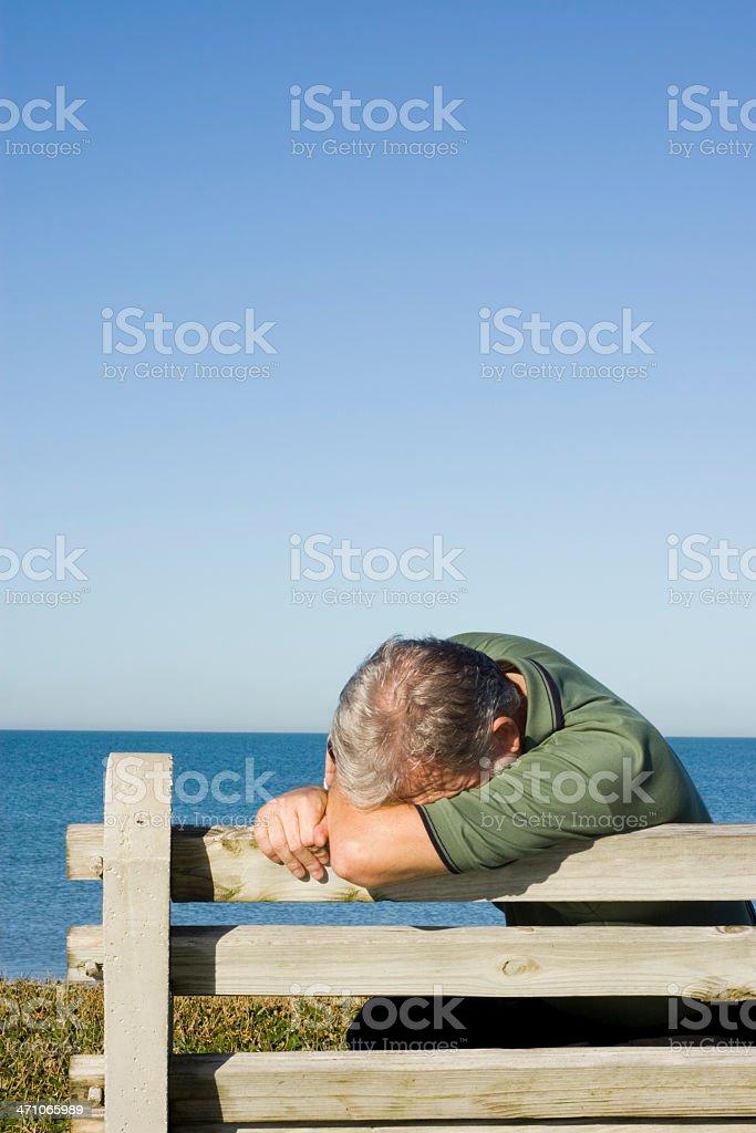 Man on Bench Series Depressed royalty-free stock photo
