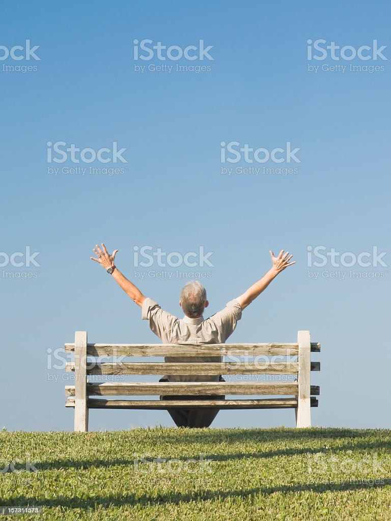 Man on Bench Series stock photo