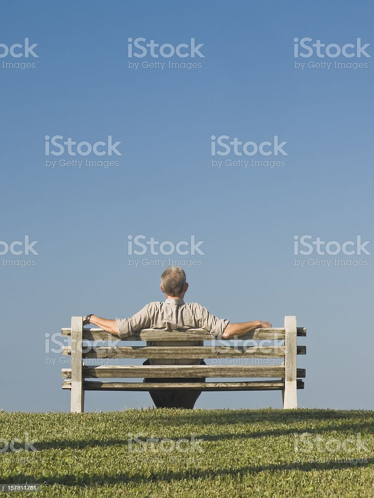Man on Bench Series royalty-free stock photo