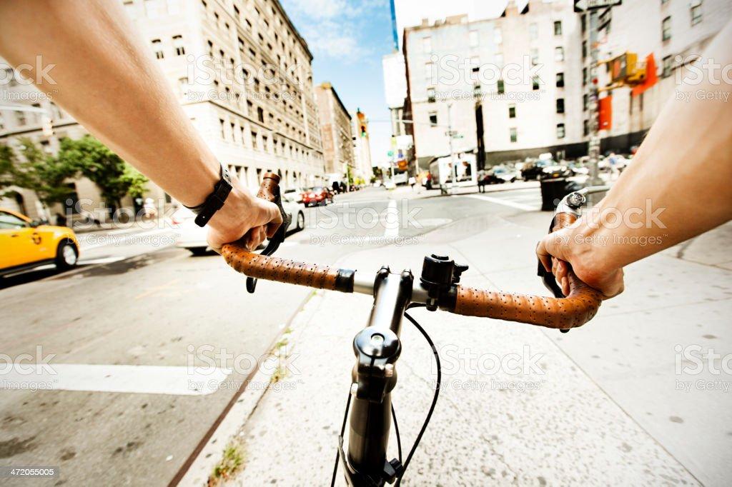 Man on bike stock photo