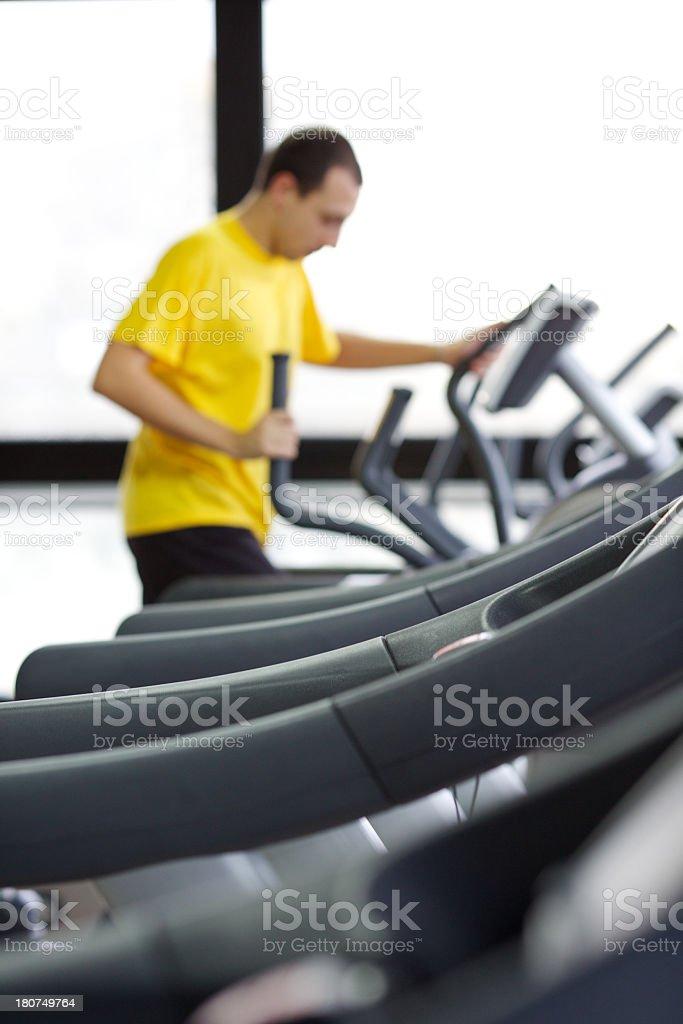Man on Cardio machine stock photo