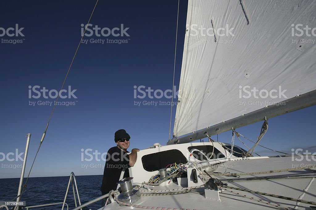 Man On Catamaran royalty-free stock photo