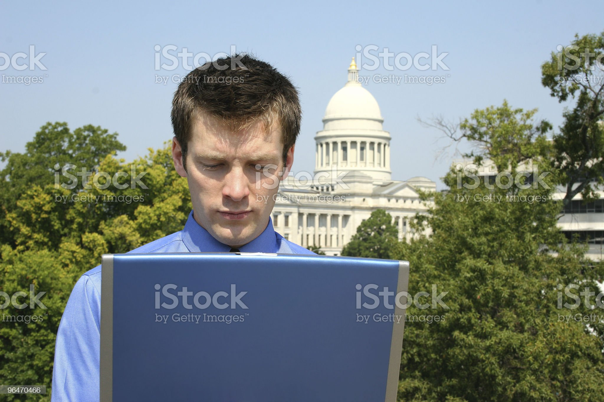 Man on Computer at Capitol royalty-free stock photo