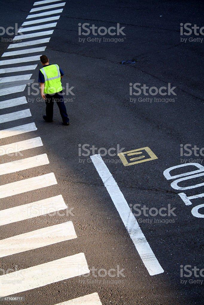 man on crossing stock photo