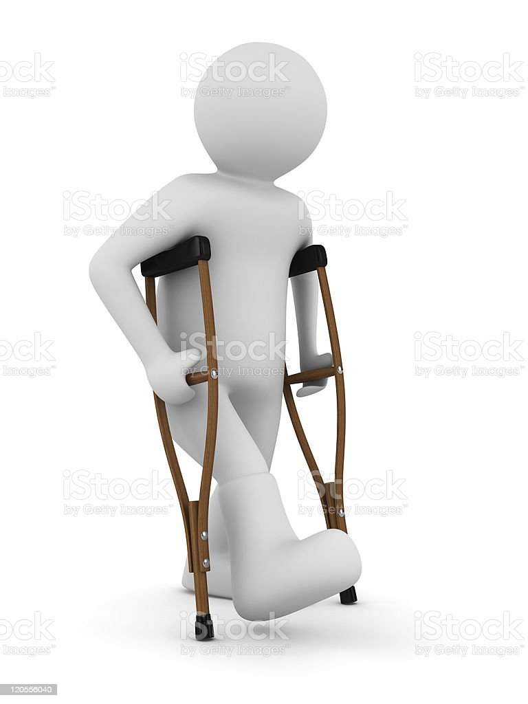 man on crutches. Isolated 3D image royalty-free stock photo