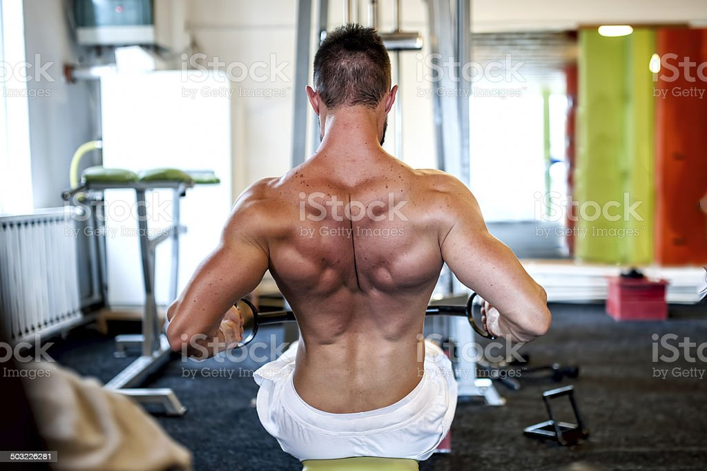man on daily workout routine at gym, close-up of back stock photo