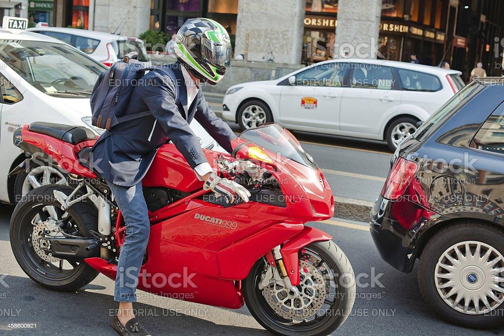 Man on Ducati in Milan royalty-free stock photo