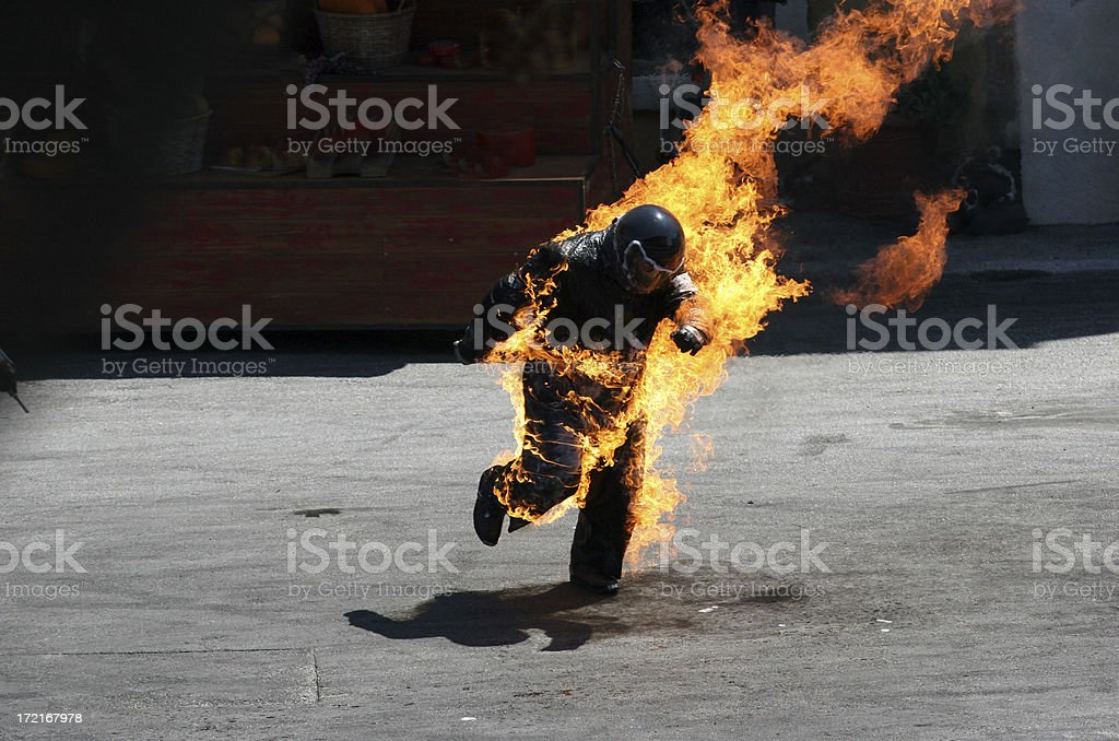 Man on Fire royalty-free stock photo